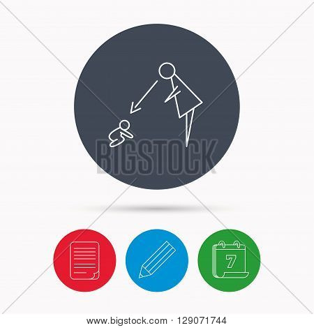 Under nanny supervision icon. Babysitting care sign. Mother watching baby symbol. Calendar, pencil or edit and document file signs. Vector