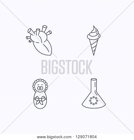 Newborn, heart and lab bulb icons. Ice cream linear sign. Flat linear icons on white background. Vector