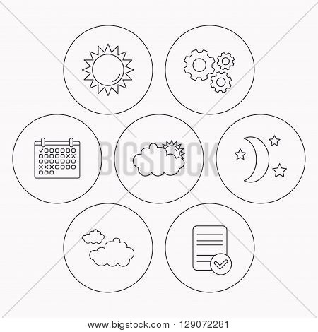 Weather, sun and cloudy icons. Moon night linear sign. Check file, calendar and cogwheel icons. Vector