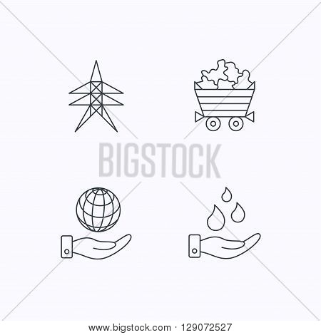 Save water, planet and electricity station icons. Minerals linear sign. Flat linear icons on white background. Vector