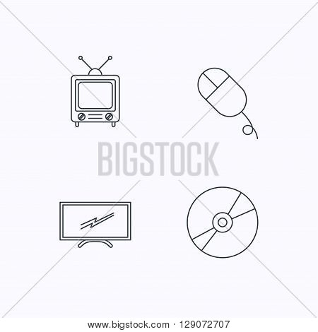 Retro TV, PC mouse and DVD disc icons. Widescreen TV linear sign. Flat linear icons on white background. Vector
