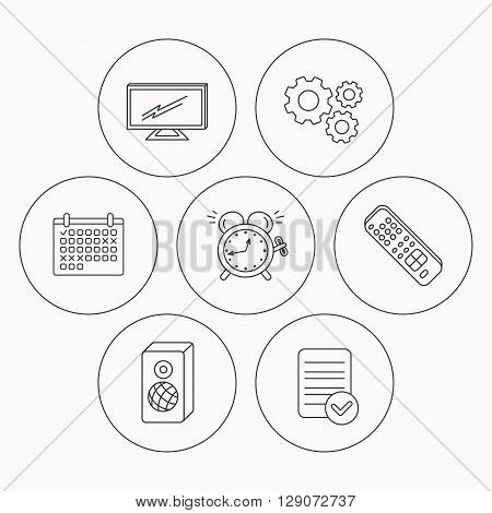 TV remote, alarm clock and sound icons. Widescreen TV linear sign. Check file, calendar and cogwheel icons. Vector