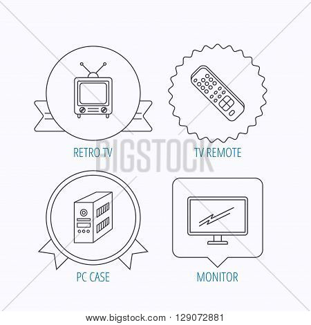 Retro TV, PC case and monitor icons. TV remote linear sign. Award medal, star label and speech bubble designs. Vector