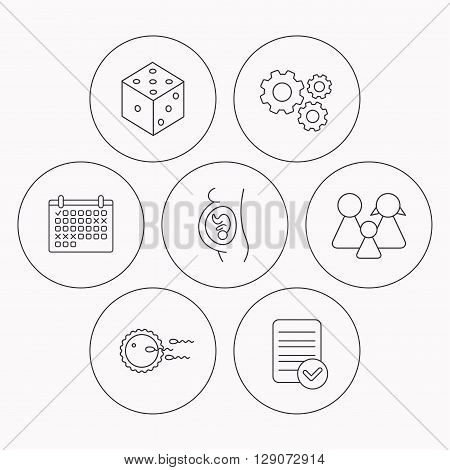 Pregnancy, family and family planning icons. Dice linear sign. Check file, calendar and cogwheel icons. Vector