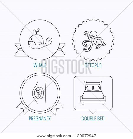 Whale, octopus and double bed  icons. Pregnancy linear sign. Award medal, star label and speech bubble designs. Vector