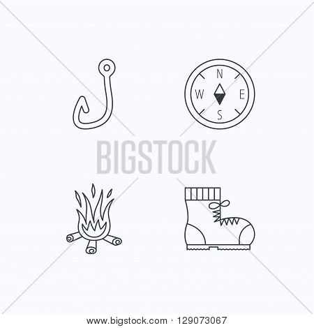 Fishing hook, compass and hiking boots icons. Bonfire linear sign. Flat linear icons on white background. Vector