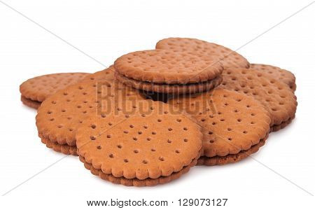 cookie sandwich on white backgroundt, dieting, filling,