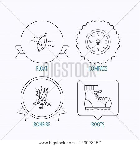 Bonfire, fishing float and hiking boots icons. Compass linear sign. Award medal, star label and speech bubble designs. Vector