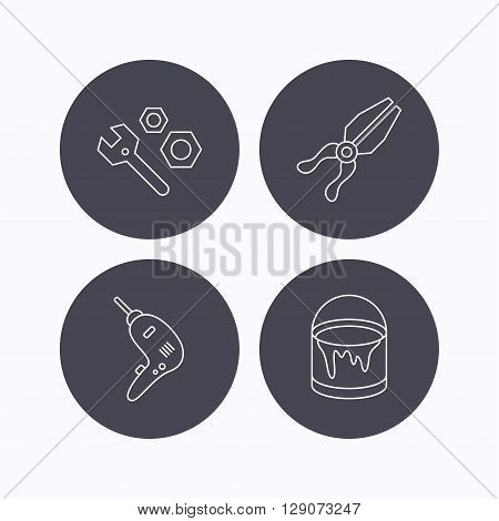Wrench tool, pliers and drill icons. Bucket of paint linear signs. Flat icons in circle buttons on white background. Vector