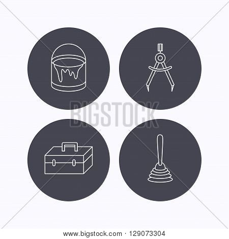 Measurement, plunger and repair toolbox icons. Bucket of paint linear sign. Flat icons in circle buttons on white background. Vector
