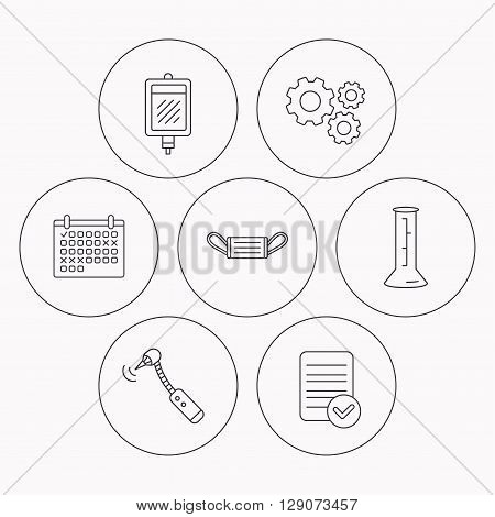 Medical mask, blood and drilling tool icons. Beaker linear sign. Check file, calendar and cogwheel icons. Vector