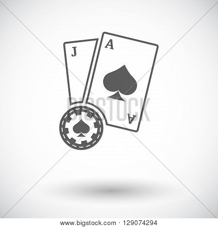 Blackjack. Flat icon on the white background for web and mobile applications. Vector illustration.