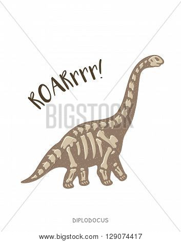 Cartoon card with a diplodocus skeleton and text Roar. Fossil of a diplodocus dinosaur skeleton. Cute dinosaur on white background