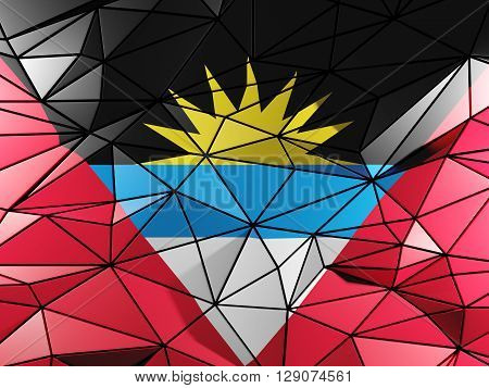 Triangle Background With Flag Of Antigua And Barbuda. 3D Illustration