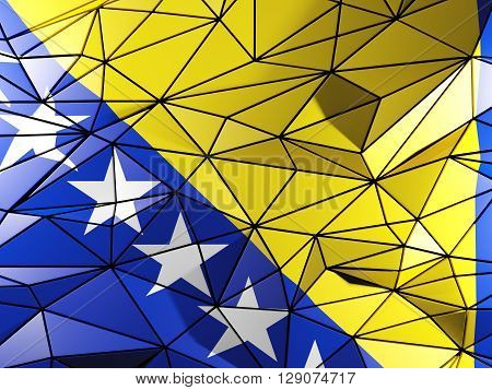 Triangle Background With Flag Of Bosnia And Herzegovina. 3D Illustration
