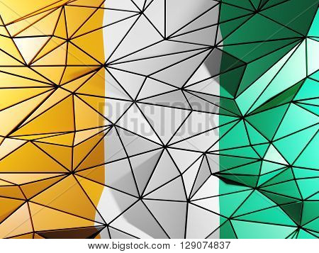 Triangle Background With Flag Of Cote D Ivoire. 3D Illustration