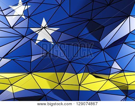Triangle Background With Flag Of Curacao. 3D Illustration