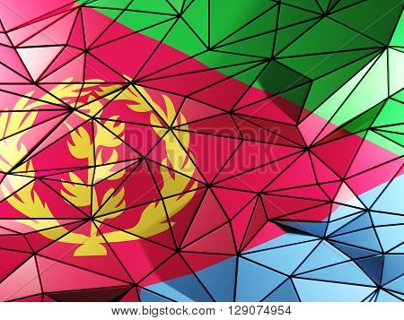Triangle Background With Flag Of Eritrea. 3D Illustration