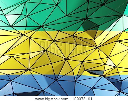 Triangle Background With Flag Of Gabon. 3D Illustration