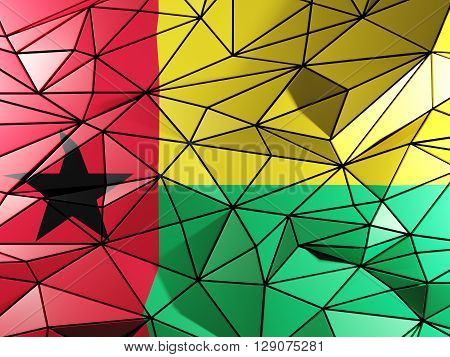 Triangle Background With Flag Of Guinea Bissau. 3D Illustration