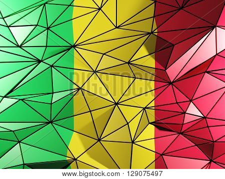 Triangle Background With Flag Of Mali. 3D Illustration