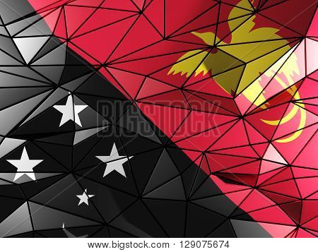 Triangle Background With Flag Of Papua New Guinea. 3D Illustration