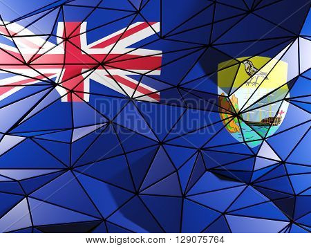 Triangle Background With Flag Of Saint Helena. 3D Illustration