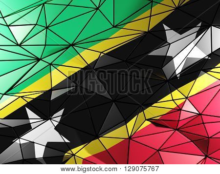 Triangle Background With Flag Of Saint Kitts And Nevis. 3D Illustration