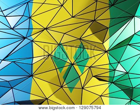 Triangle Background With Flag Of Saint Vincent And The Grenadines. 3D Illustration