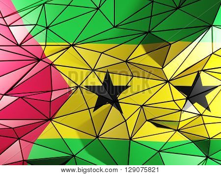 Triangle Background With Flag Of Sao Tome And Principe. 3D Illustration