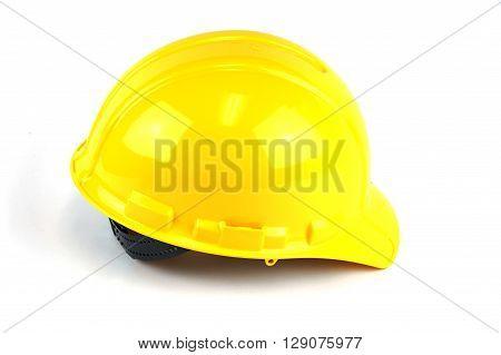 yellow safe helmet isolated on white background