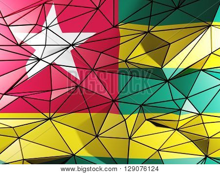 Triangle Background With Flag Of Togo. 3D Illustration