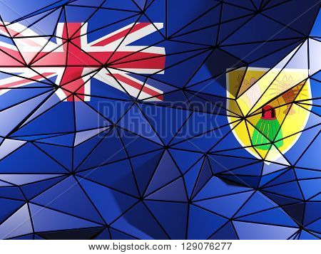 Triangle Background With Flag Of Turks And Caicos Islands. 3D Illustration
