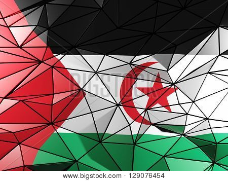 Triangle Background With Flag Of Western Sahara. 3D Illustration