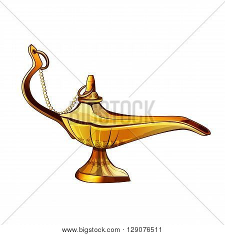 Aladdins lamp vector illustration on a white background