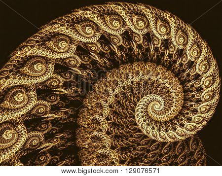 Abstract fractal spiral - computer-generated image. Fractal artwork - lace spiral closeup image. Monochrome pattern for banners, posters, prints, web design