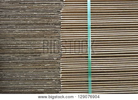 close up on details of stacking stack cardboard