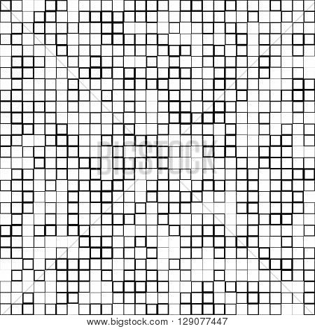Mosaic Pattern With Random Squares - Black And White Geometric Texture