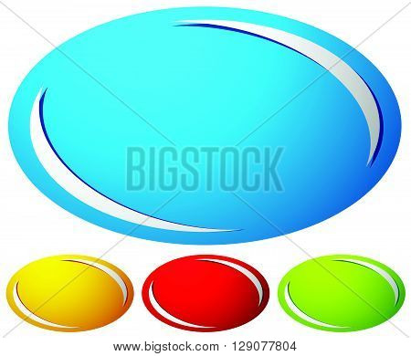 Oval, Ellipse Badge, Button Background. Set Of 4 Colors. Generic Design Elements.