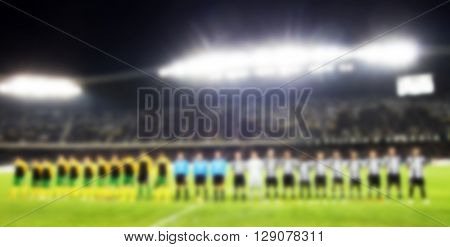 blurred background of stadium before the match - presentation of soccer teams