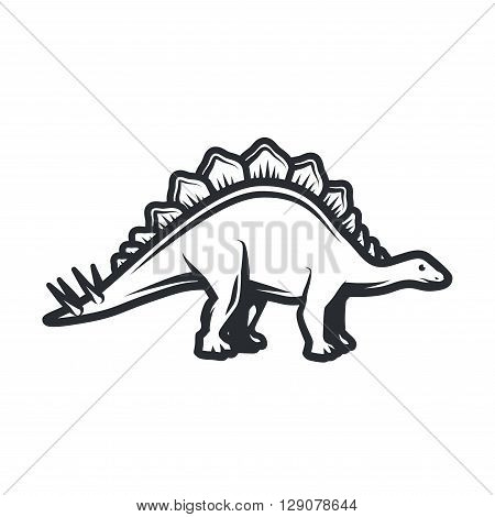 Vector dino Logo concept. Stegosaurus insignia design. Jurassic dinosaur illustration. T-shirt concept on white background.