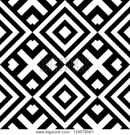 Seamless classic geometric pattern with abstract shapes. Striped monochrome artistic vector illustration for design. Simple black and white wrapping with rhomb and cross.