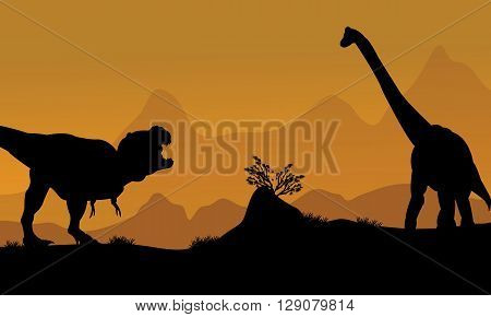 Silhouette of brachiosaurus and T-Rex in the fields
