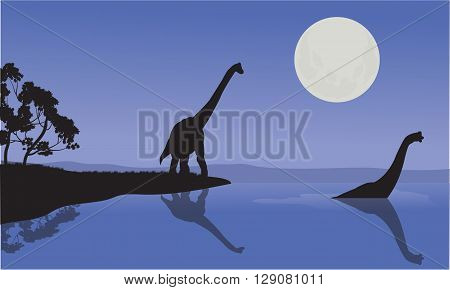 Brachiosaurus in sea scenery with blue backgrounds