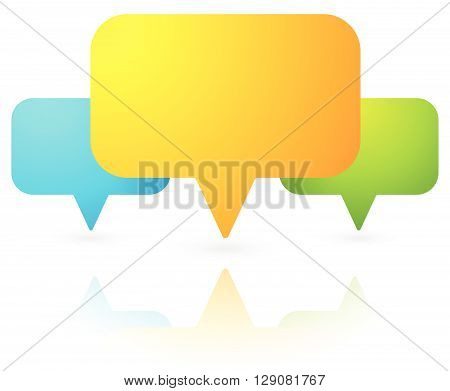 Overlapping Speech Bubbles / Map Markers. Colorful Icon For Communication, Support, Stores, Shops Lo