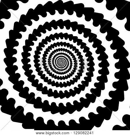 Abstract Spiral, Vortex Graphic. Inward Spiral. Artistic Monochrome Image.