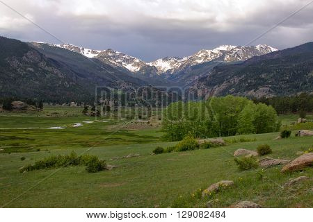 Storm rolling over the continental divide in Moraine park at Rocky Mountain National Park in Estes Park Colorado