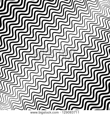Irregular Wavy (zig Zag) Lines. Monochrome Abstract Texture, Pattern, Background With Diagonal Disto