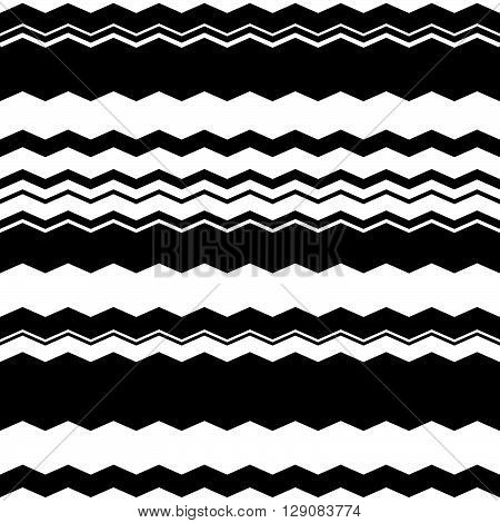 Wavy (zigzag) Lines Repeatable Pattern - Irregular Monochrome Pattern With Wavy, Zigzag Lines