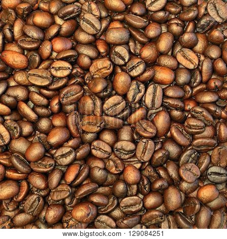 Roasted coffee beans texture close up background